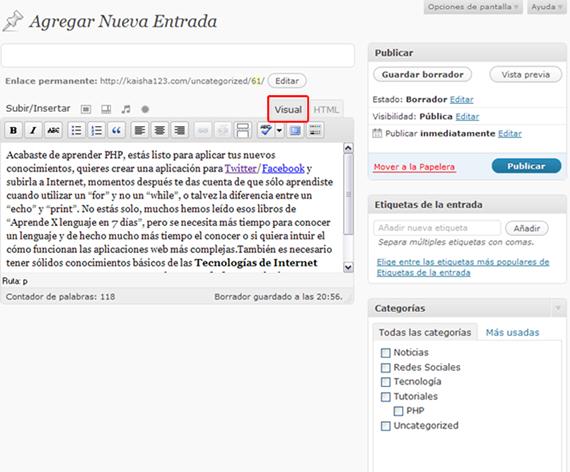 Utilizando el Editor Visual