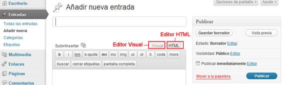 Editor Visual y Editor HTML