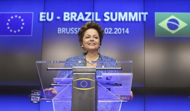 Brazil's President Rousseff speaks during an EU-Brazil summit in Brussels