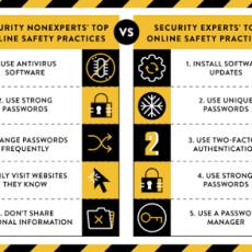 Comparación de cómo los expertos en seguridad y no expertos se mantienen seguros online